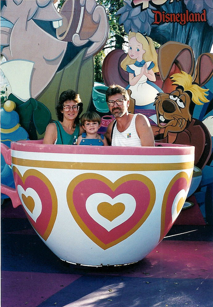 Max, Mom and Dad in a teacup.