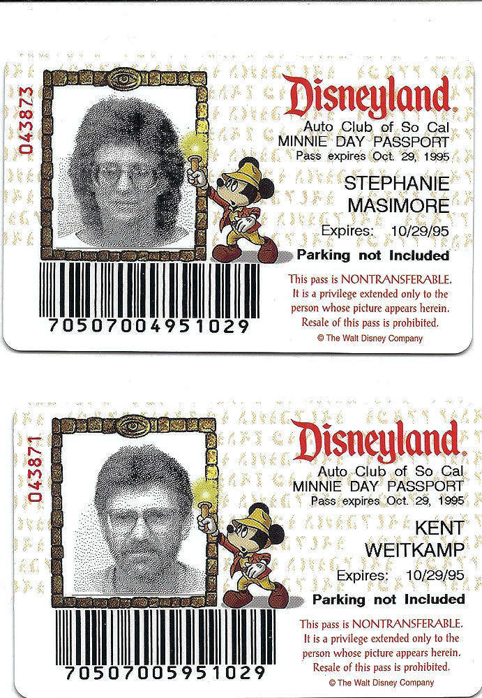 Disneyland passes purchased through Southern California AAA.