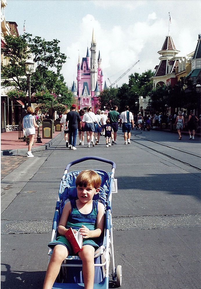 Me in front of Cinderella Castle being redone as the cake.