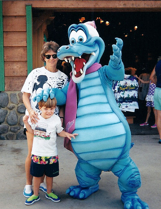 Mom and I with Ice Gator, the symbol of Blizzard Beach, at Blizzard Beach.