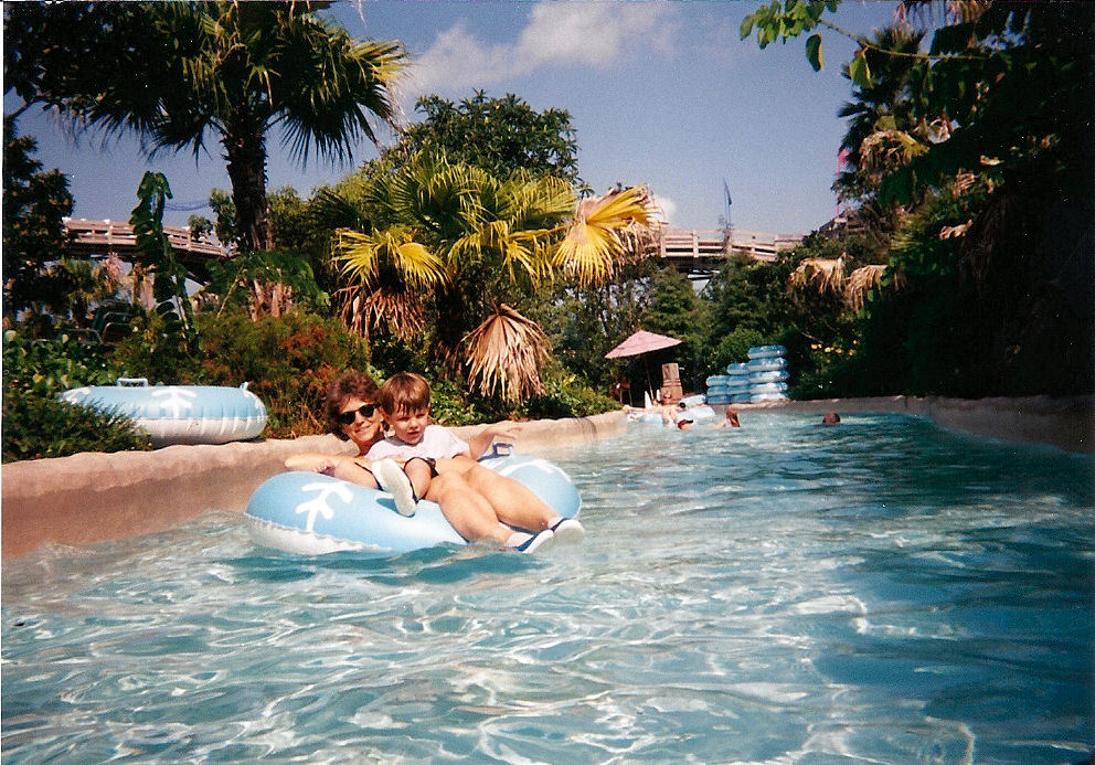 Mom and I in the lazy river at Blizzard Beach.