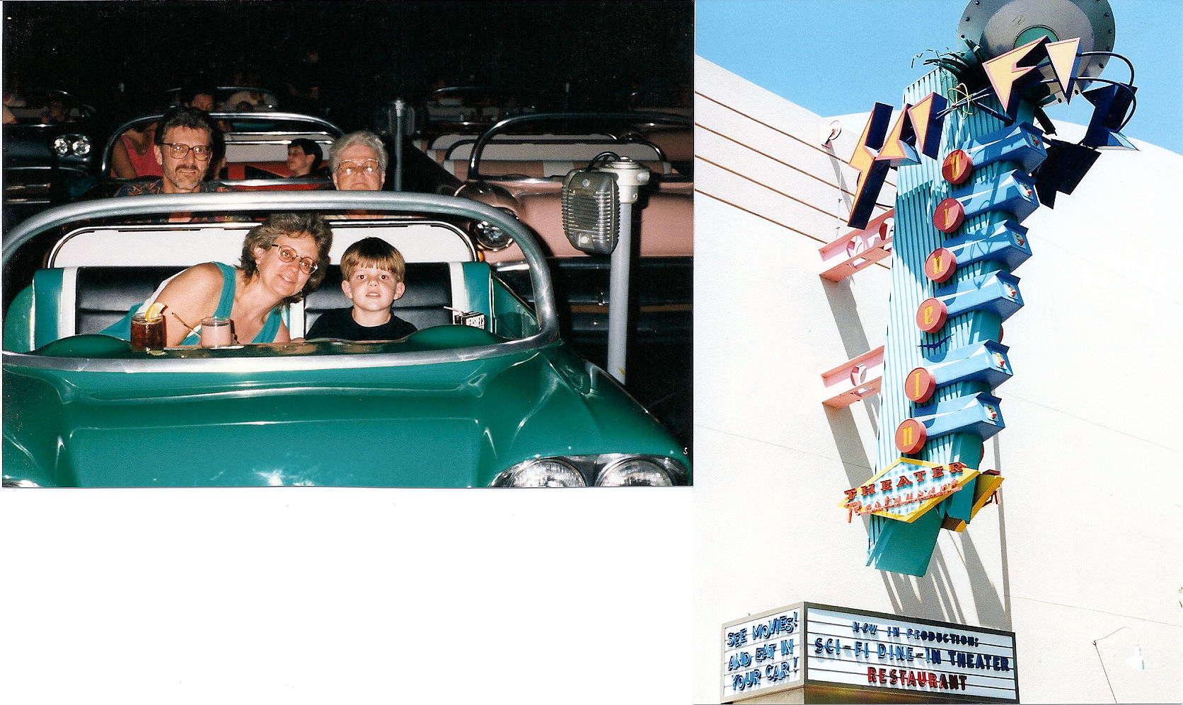 From left to right: my dad, my mom, my grandmother, and I inside the Sci-Fi Dine-In Theater and Disney's MGM Studios at Disney World and the outside of the restaurant.