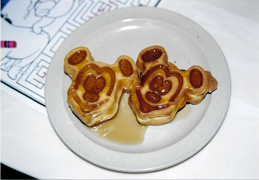 Two miniature Mickey Waffles.