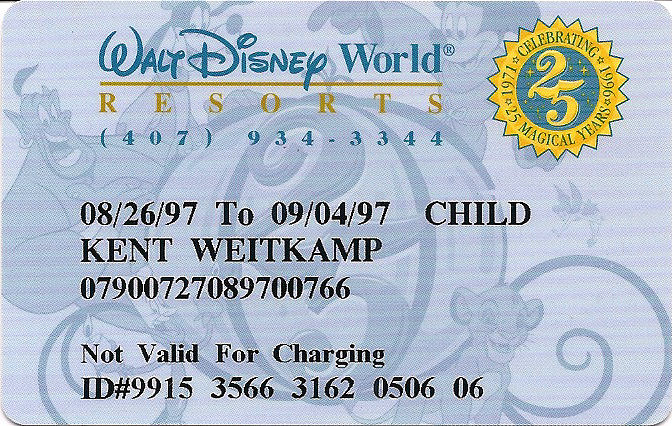 A Walt Disney World Resort room key card.