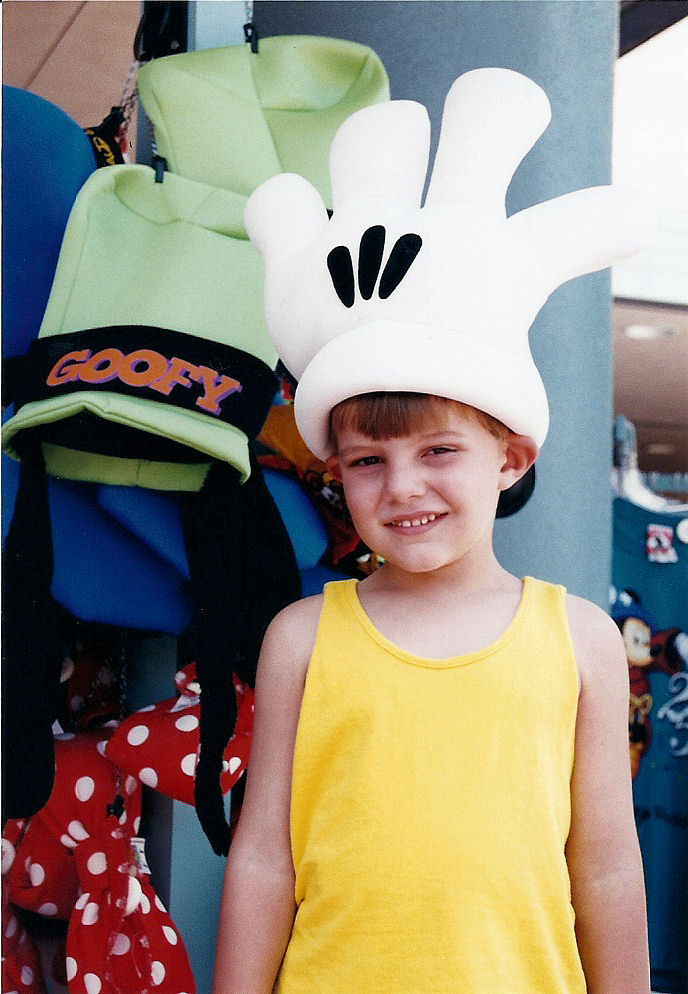 Me wearing a Mickey Mouse glove.