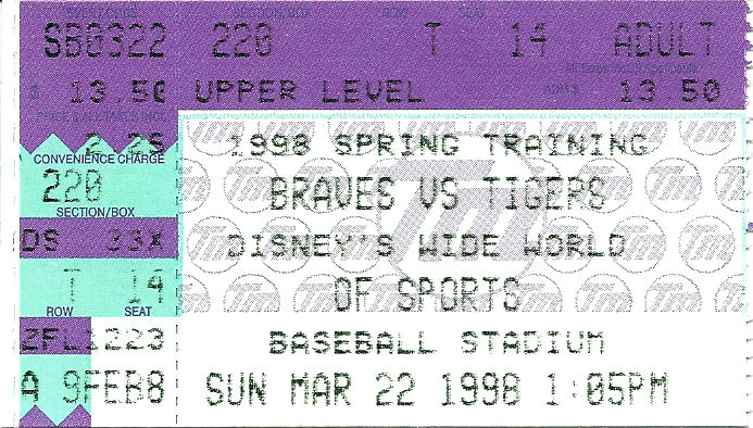 A ticket for a Braves vs. Tigers baseball game at Disney's Wide World of Sports Complex at Disney World.