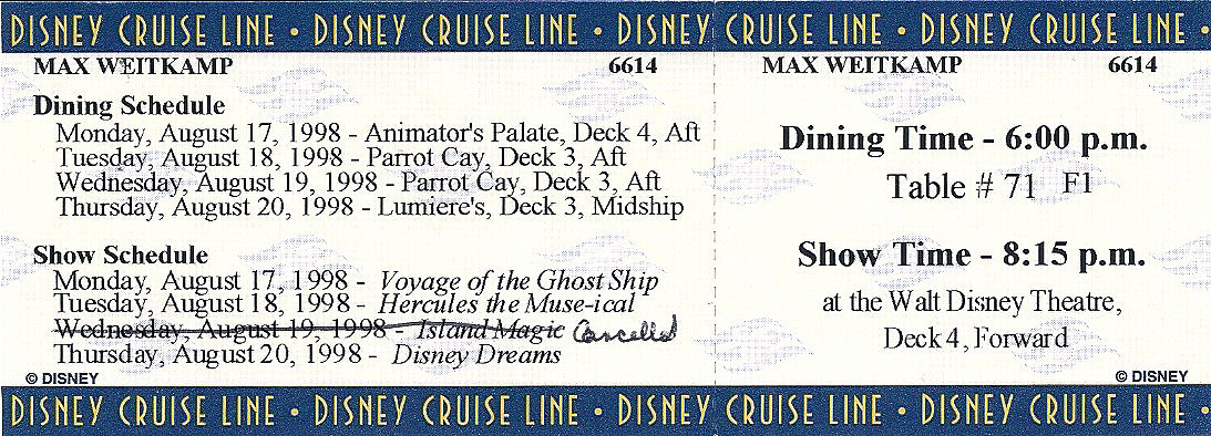 A dining and show schedule for the Disney Cruise Line.