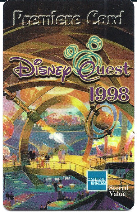 An admission card for Disney Quest; Disney's indoor theme park at Downtown Disney, Disney.