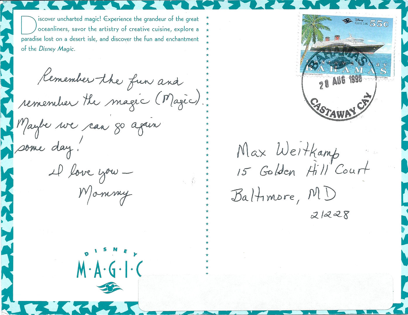 A letter my mom sent me from Castaway Cay, Disney's private Island.