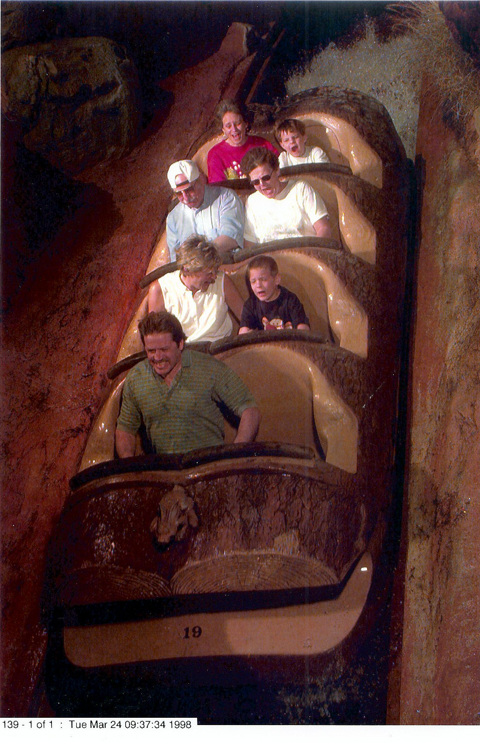 Me and my mom, (in the back row), on Splash Mountain at The Magic Kingdom at Disney World.