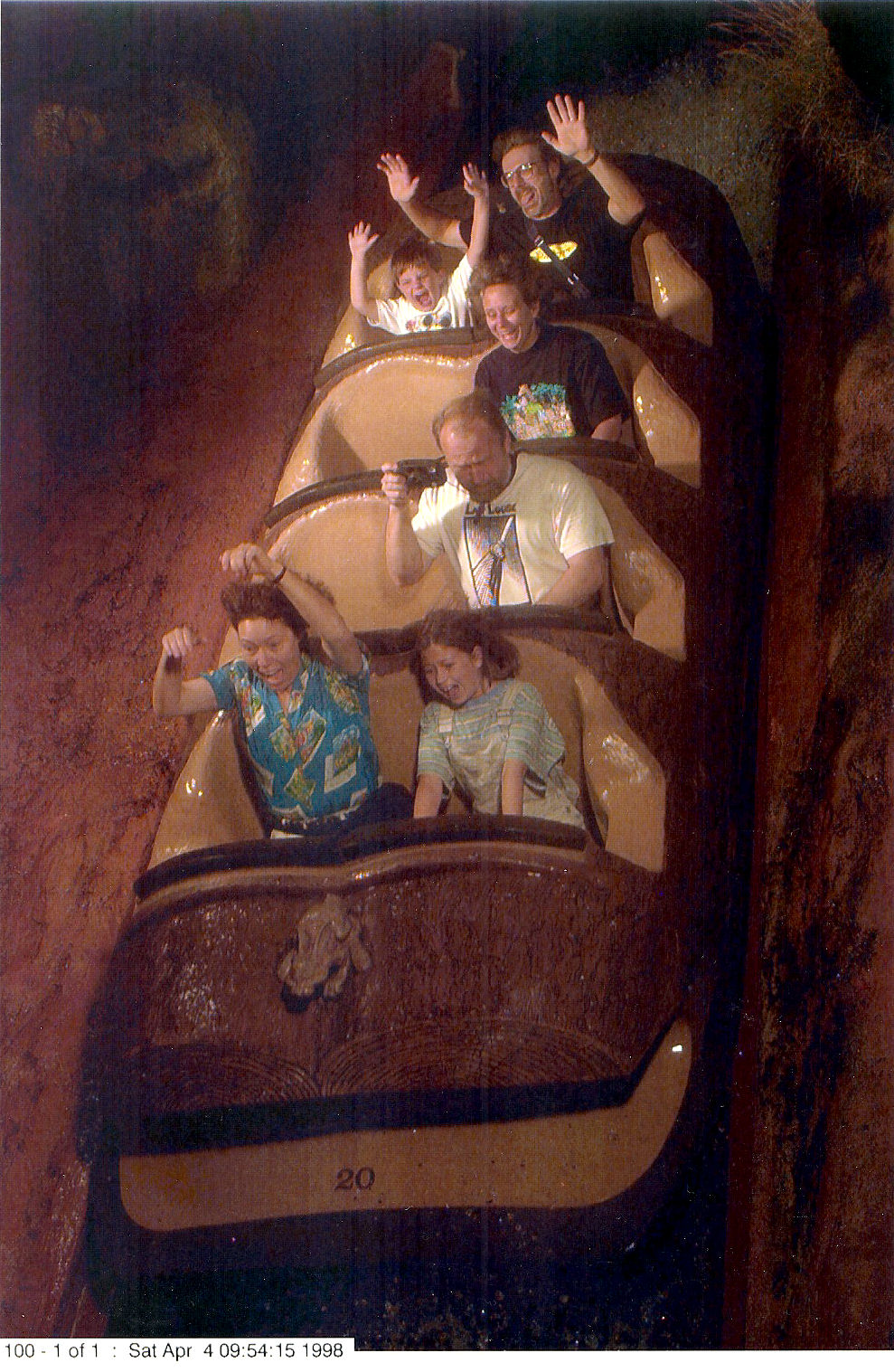 Me and my dad, (in the back row), on Splash Mountain at The Magic Kingdom at Disney World.