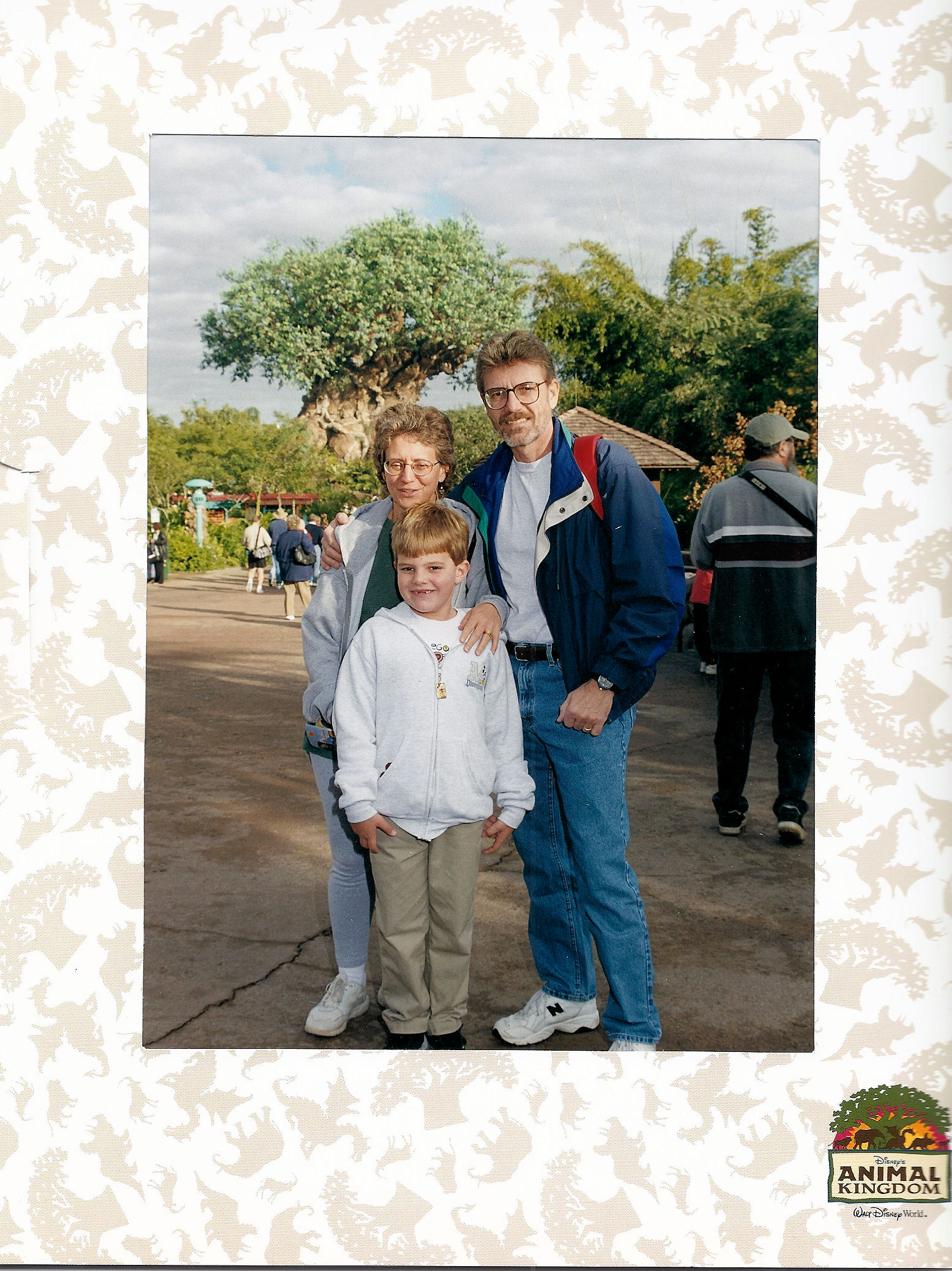 Me and my parents in front of The Tree of Life at Disney's Animal Kingdom at Disney World.