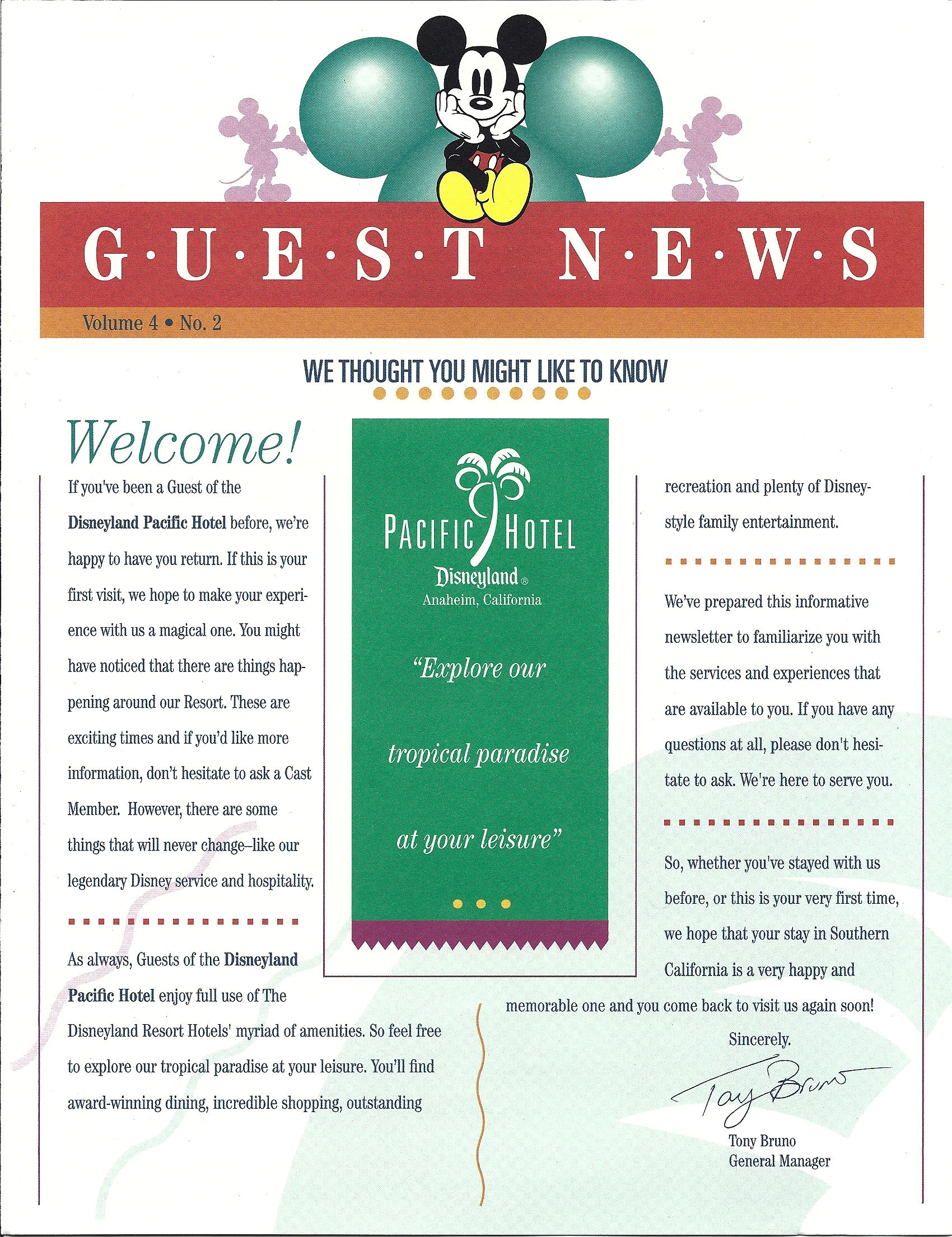 A Guest News flyer from the Pacific Hotel at the Disneyland Resort.