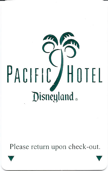 A room key from the Pacific Hotel at the Disneyland Resort.