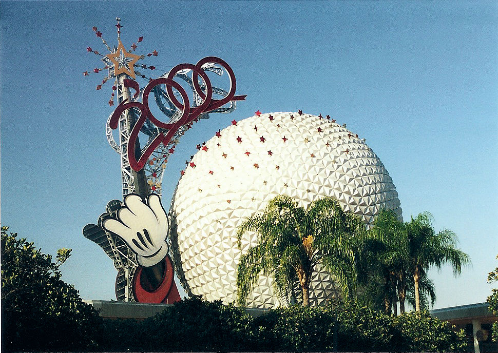 The Big Ball at EPCOT with the Mickey 2000 hand on it to celebrate the year 2000.
