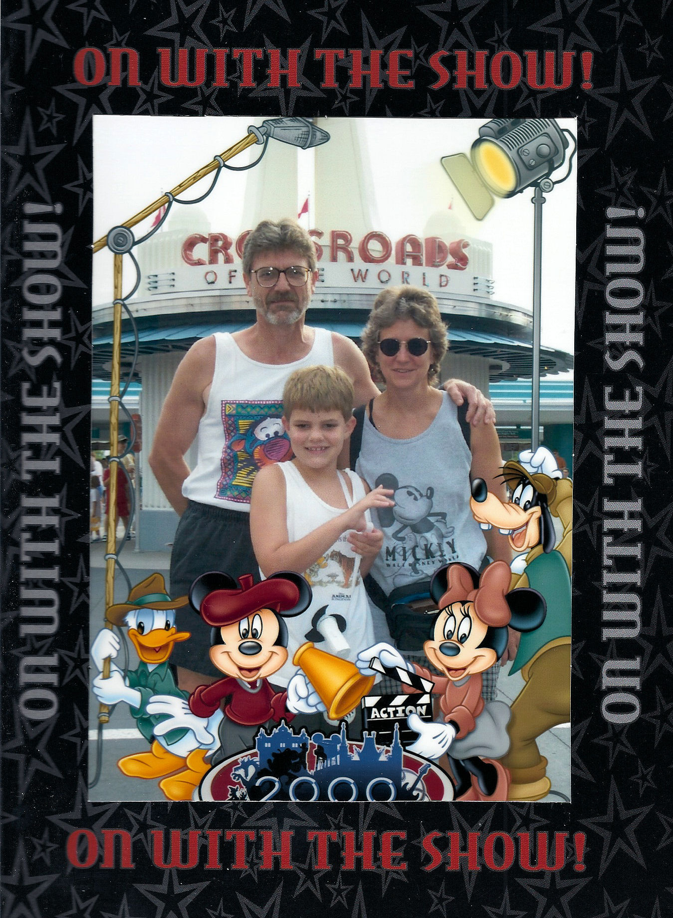 My parents and I by the entrance to Disney's MGM Studios, Disney World.