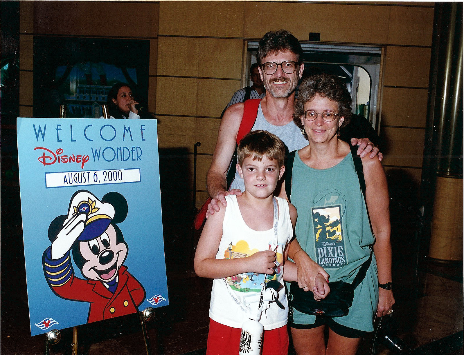 My parents and I just boarding the Disney Cruise Line's ship The Disney Wonder.
