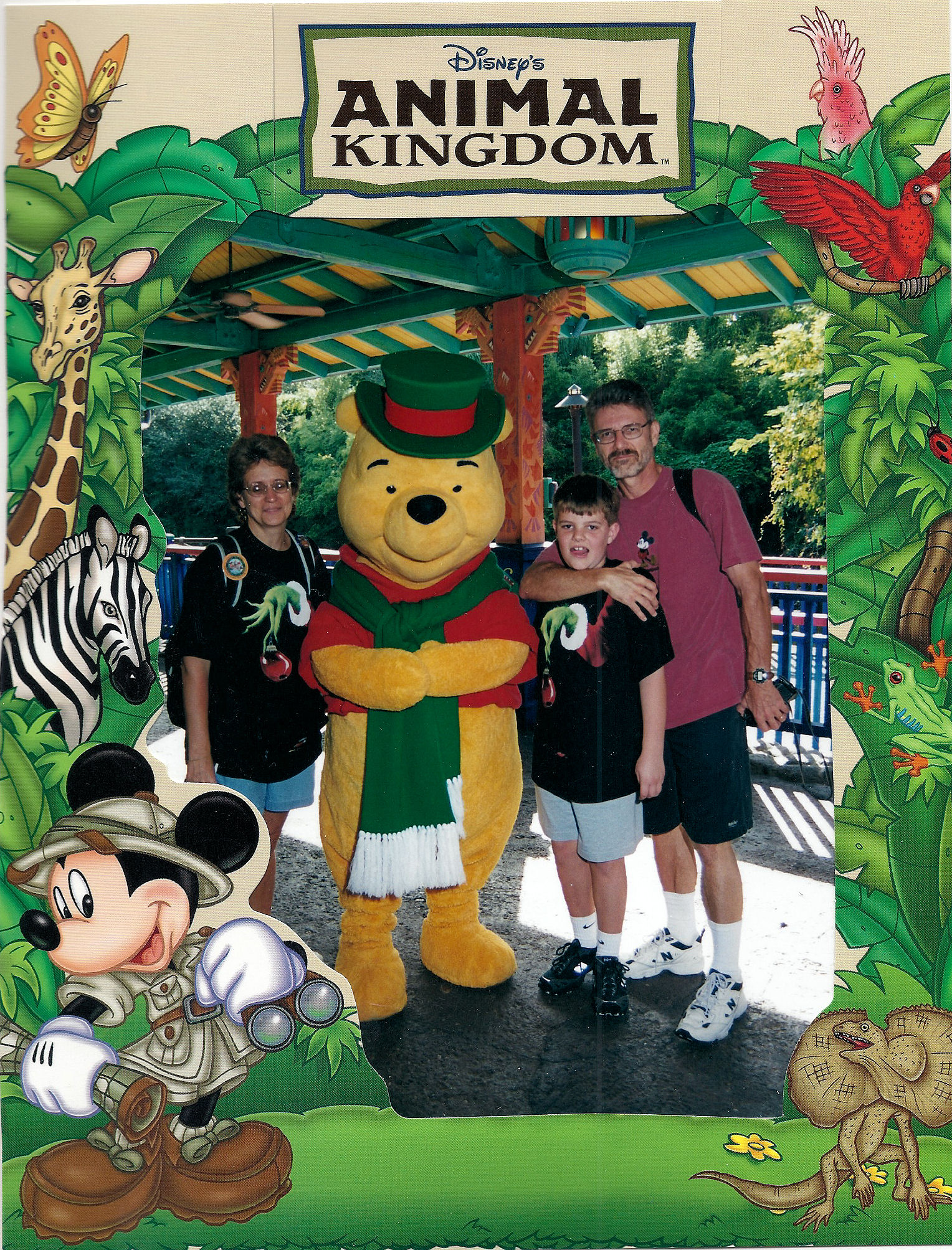 Me, my parents, and Pooh at Disney's Animal Kingdom, Disney World, around Christmas time.