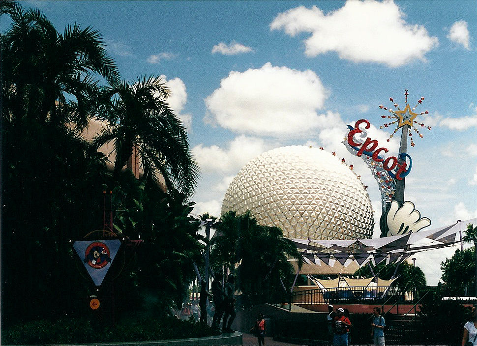 The Big Ball at EPCOT with the Mickey hand now spelling out EPCOT.