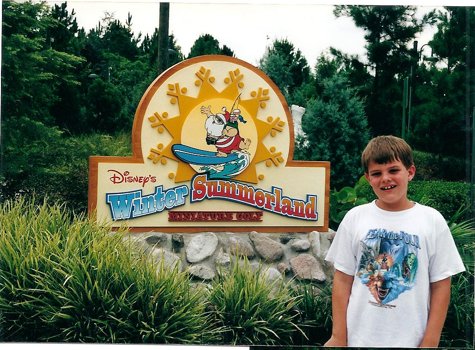 Me at the entrance to Winter Summerland, the other miniature golf course at Disney World, right next to Blizzard Beach.