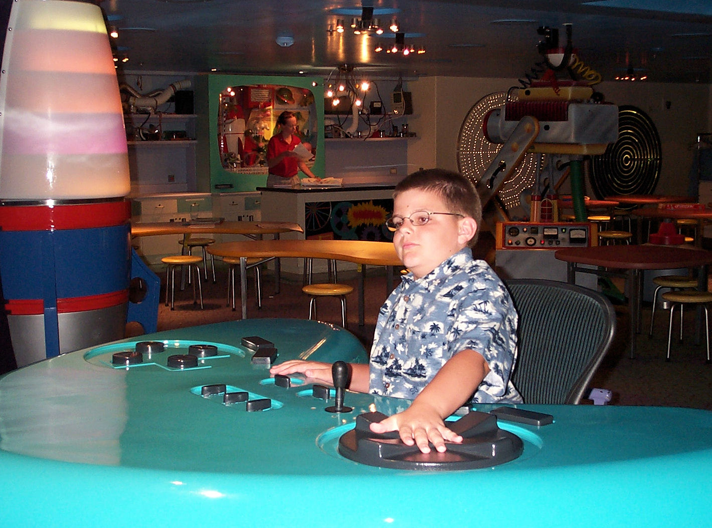 Me in the Oceaneer Lab, a children's play area, on the Disney Magic.