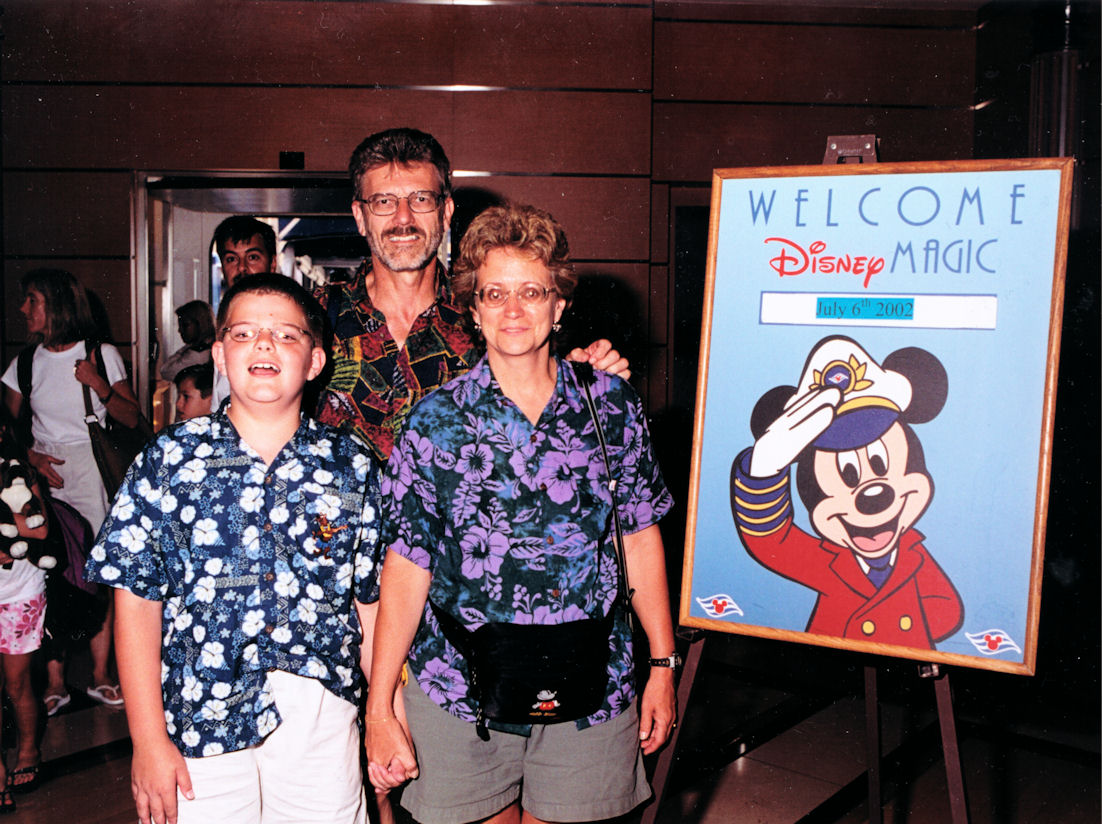 Me and my parents just as we boarded the Disney Magic.