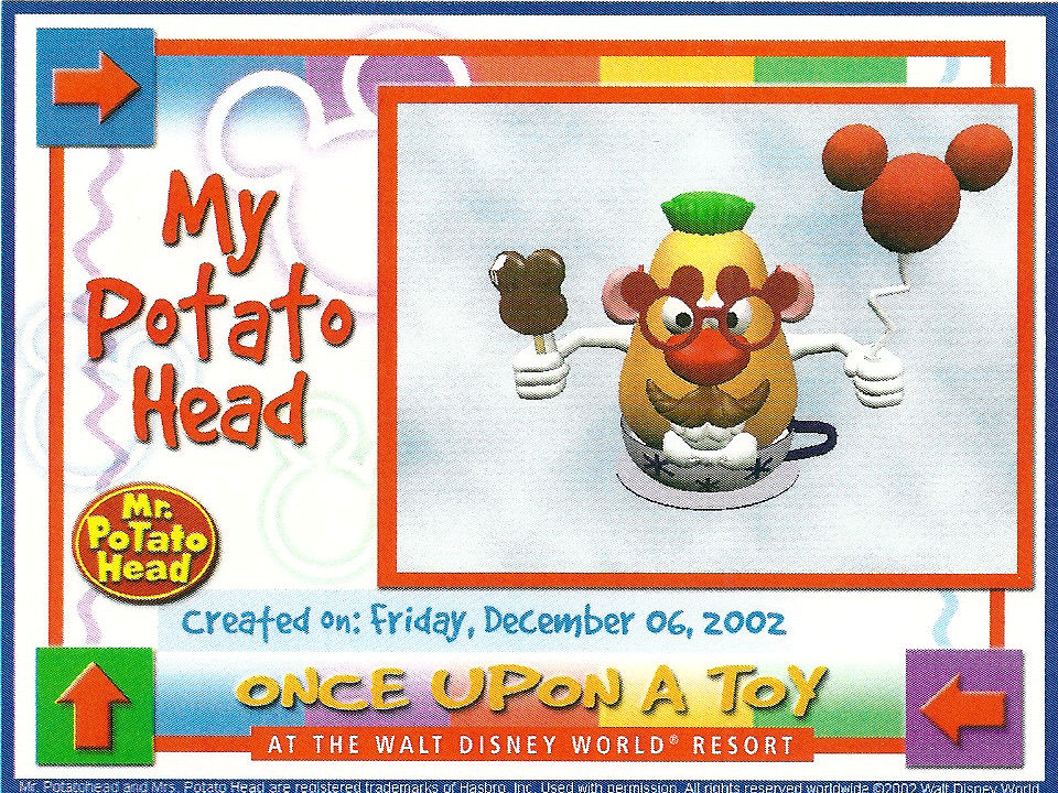 A digital Mr. Potato Head I created at the Once Upon A Toy Store at Downtown Disney, Disney World.