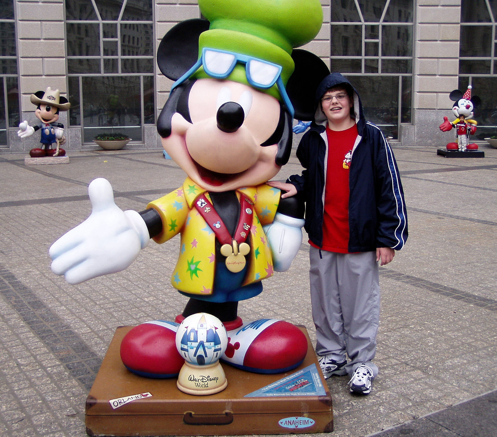 Me standing next to another one of the Mickey statues with two more in the background.  All of the Mickey statues, after touring around the country in groups, all came together at Washington D.C.