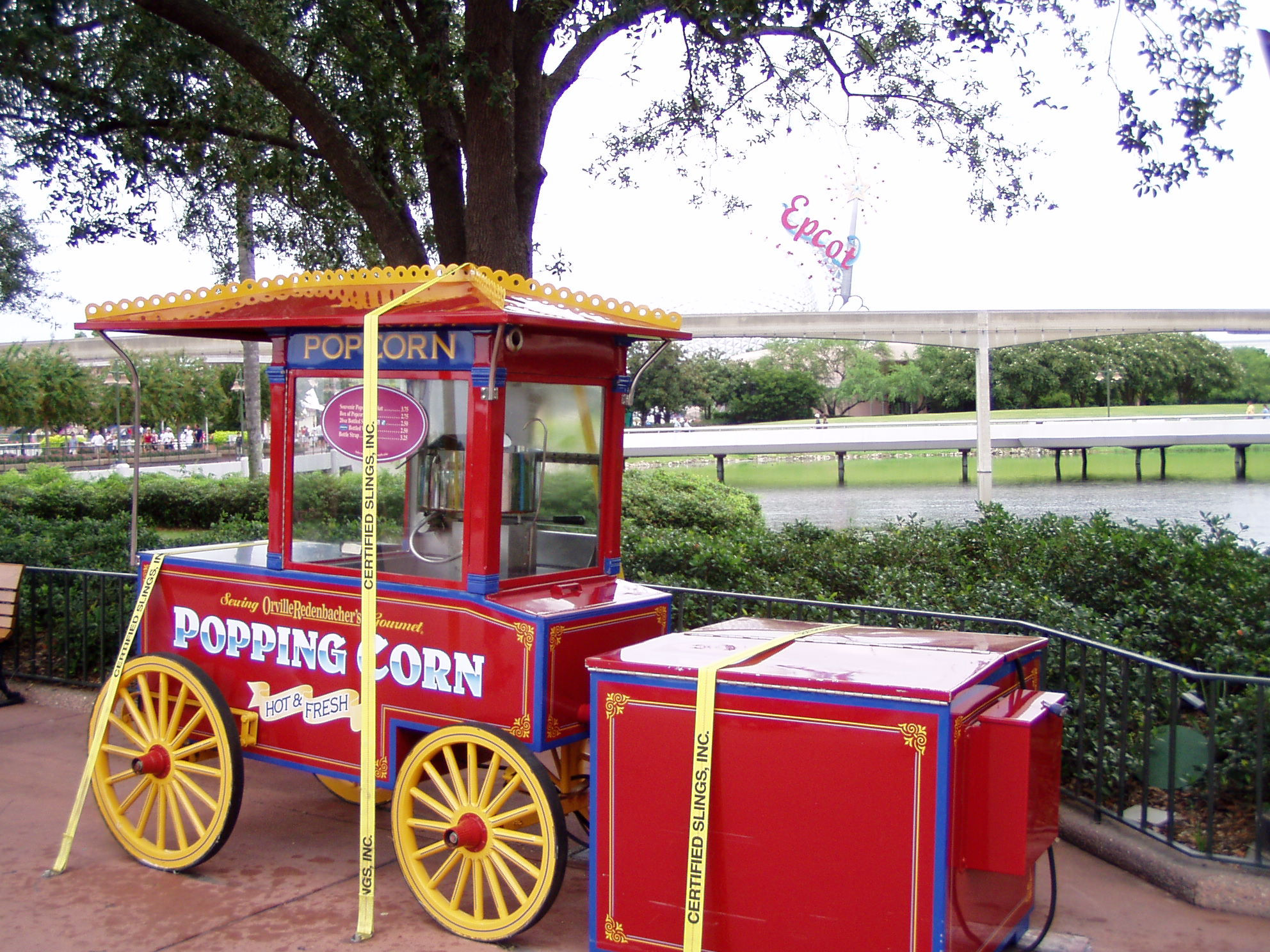 A popcorn cart EPCOT strapped down and prepared for Hurricane Charlie.