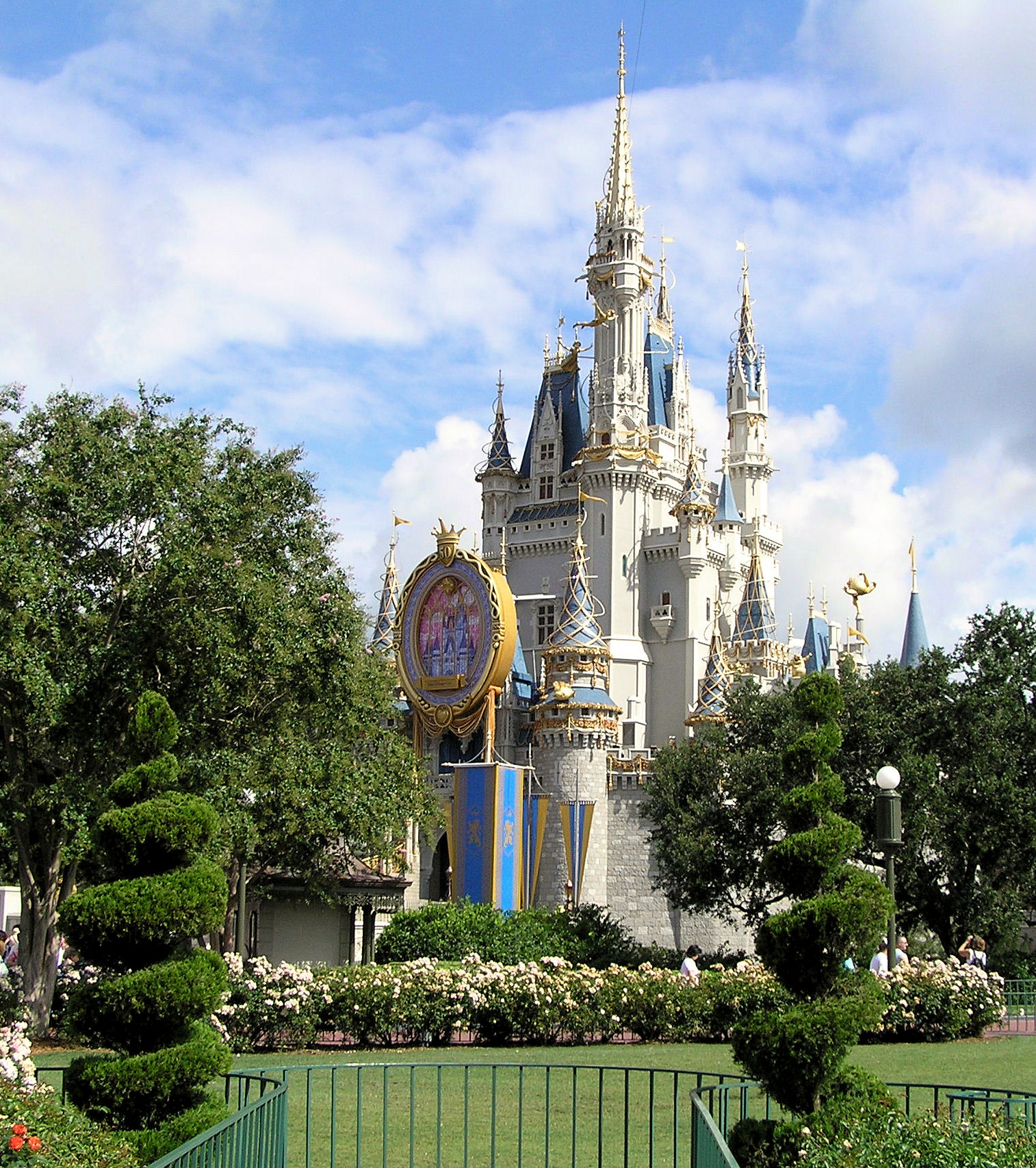 Another shot of Cinderella Castle at Disney World decorated for The Happiest Celebration on Earth.