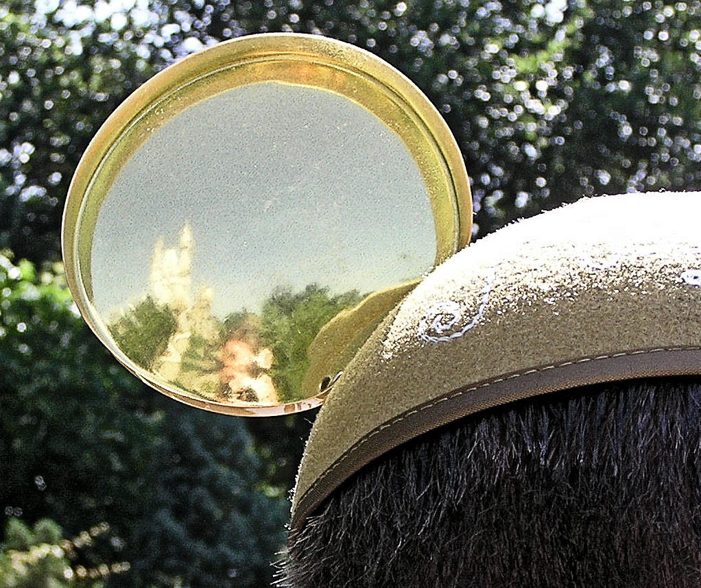 The reflection of Cinderella Castle in the back of a golden Mickey Ear.