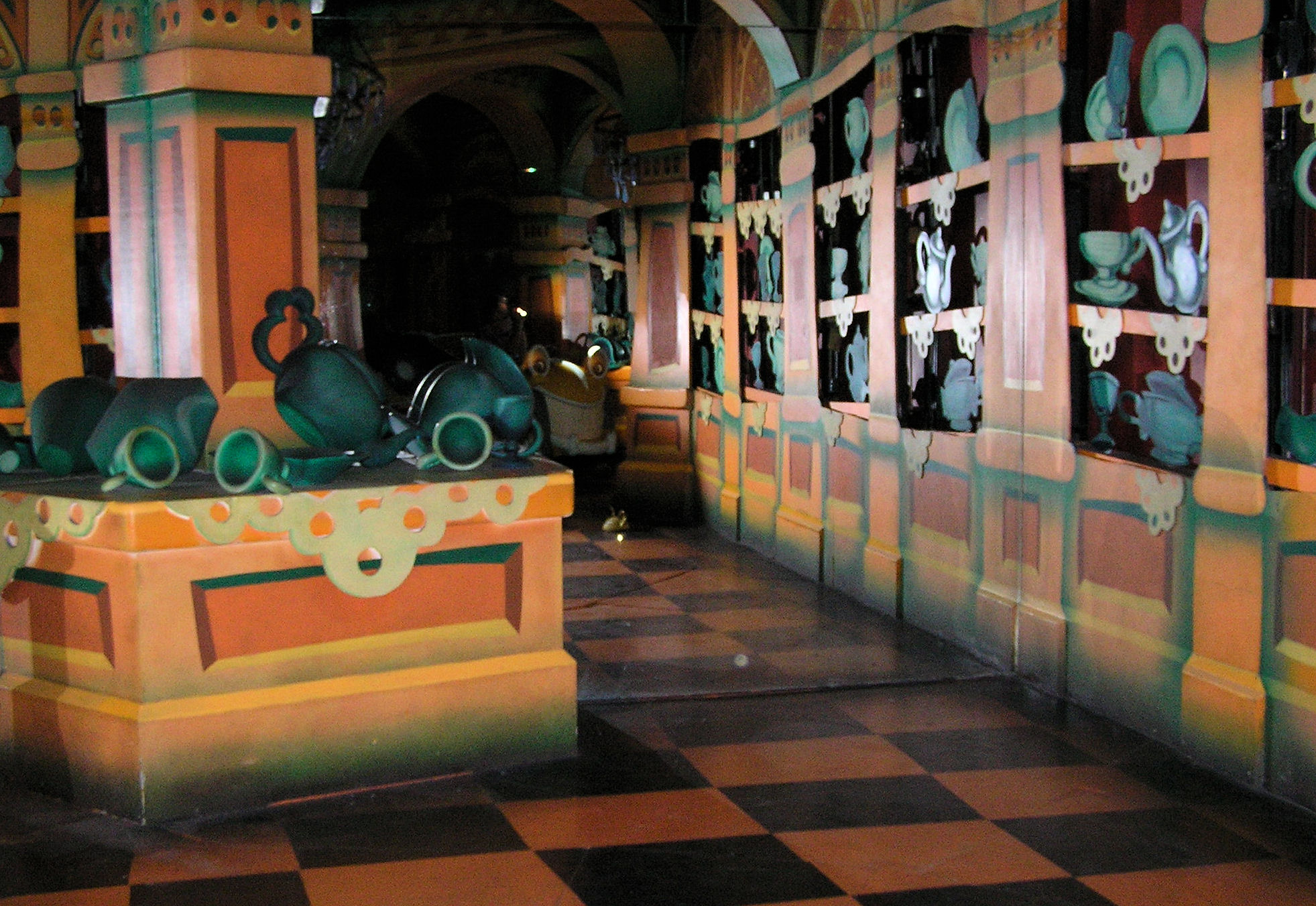 A Hidden Mickey made out of doilies in Roger Rabbit's Car Toon Spin in Mickey's Toontown at Disneyland.
