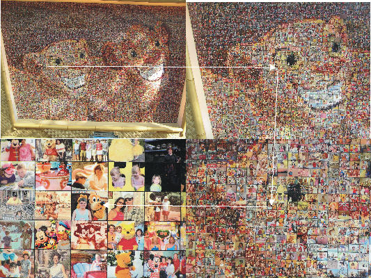 A more detailed set of pictures showing where my picture was in the mosaic.