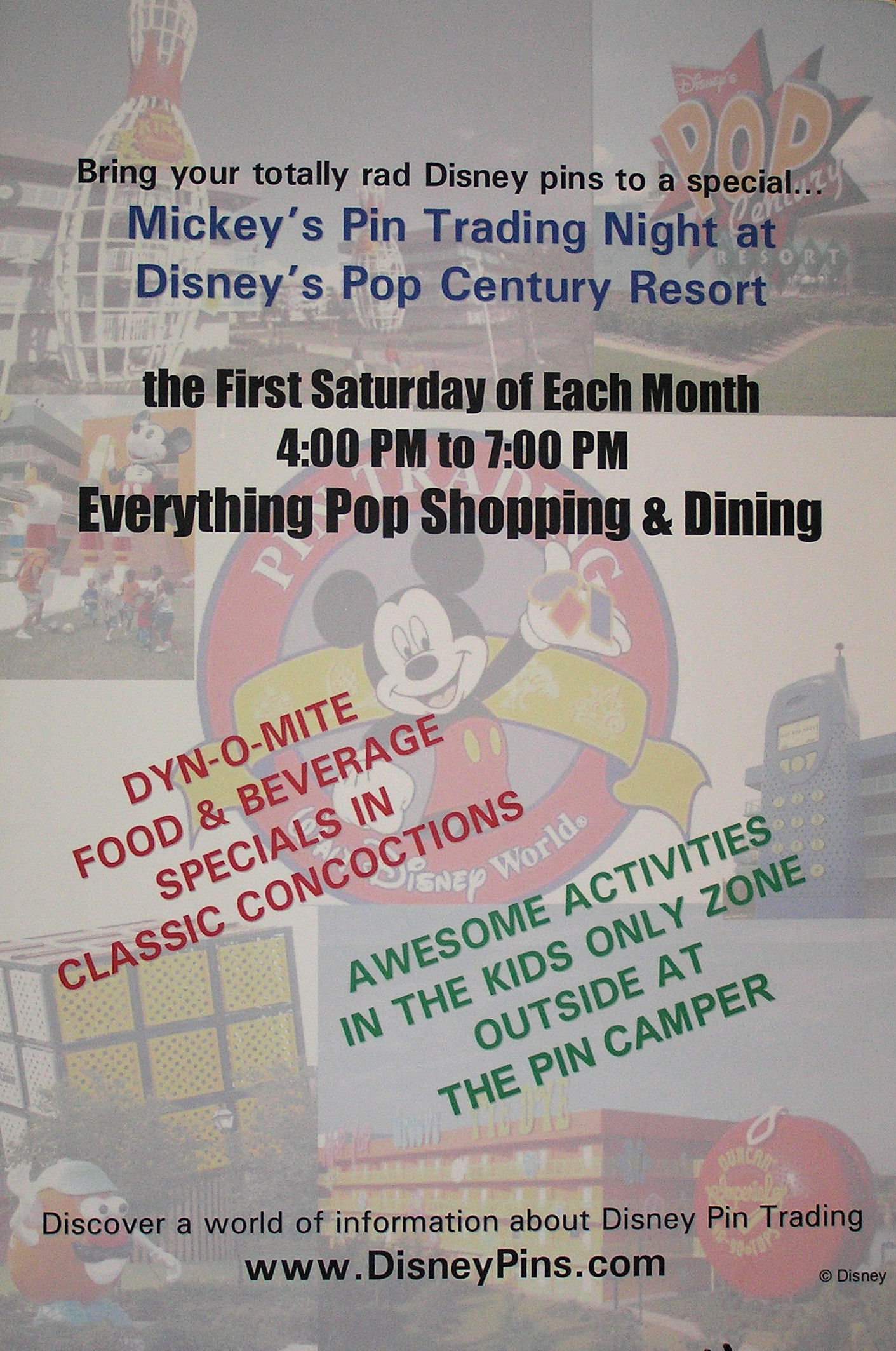 An ad for a pin trading event at Disney's Pop Century Resort at Disney World.
