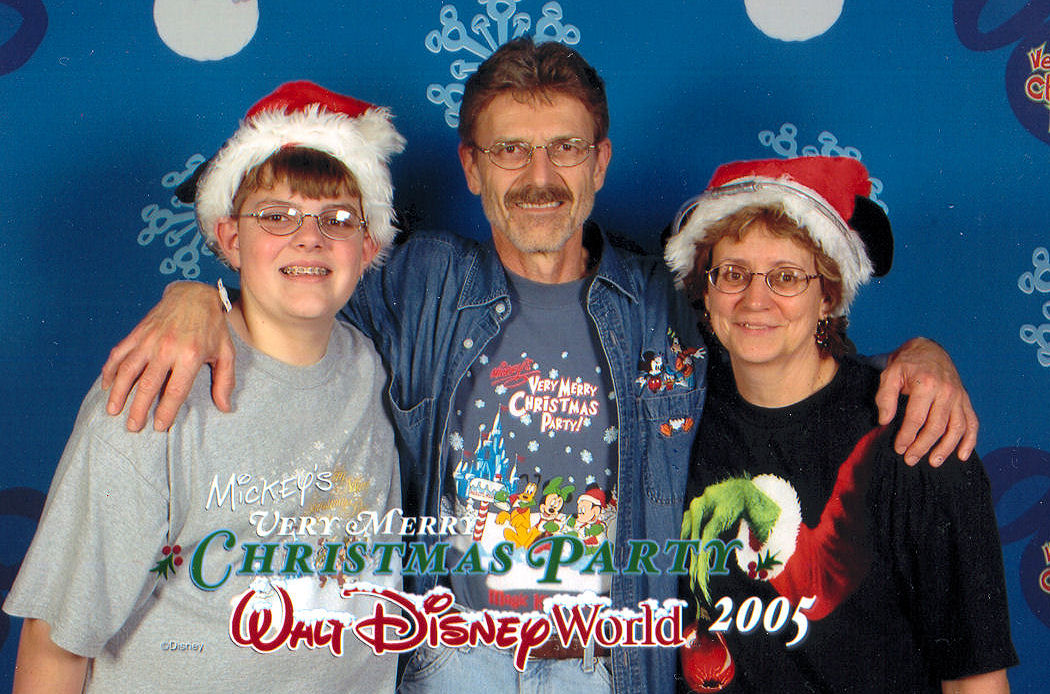 Me and my parents at Mickey's Very Merry Christmas Party at The Magic Kingdom.