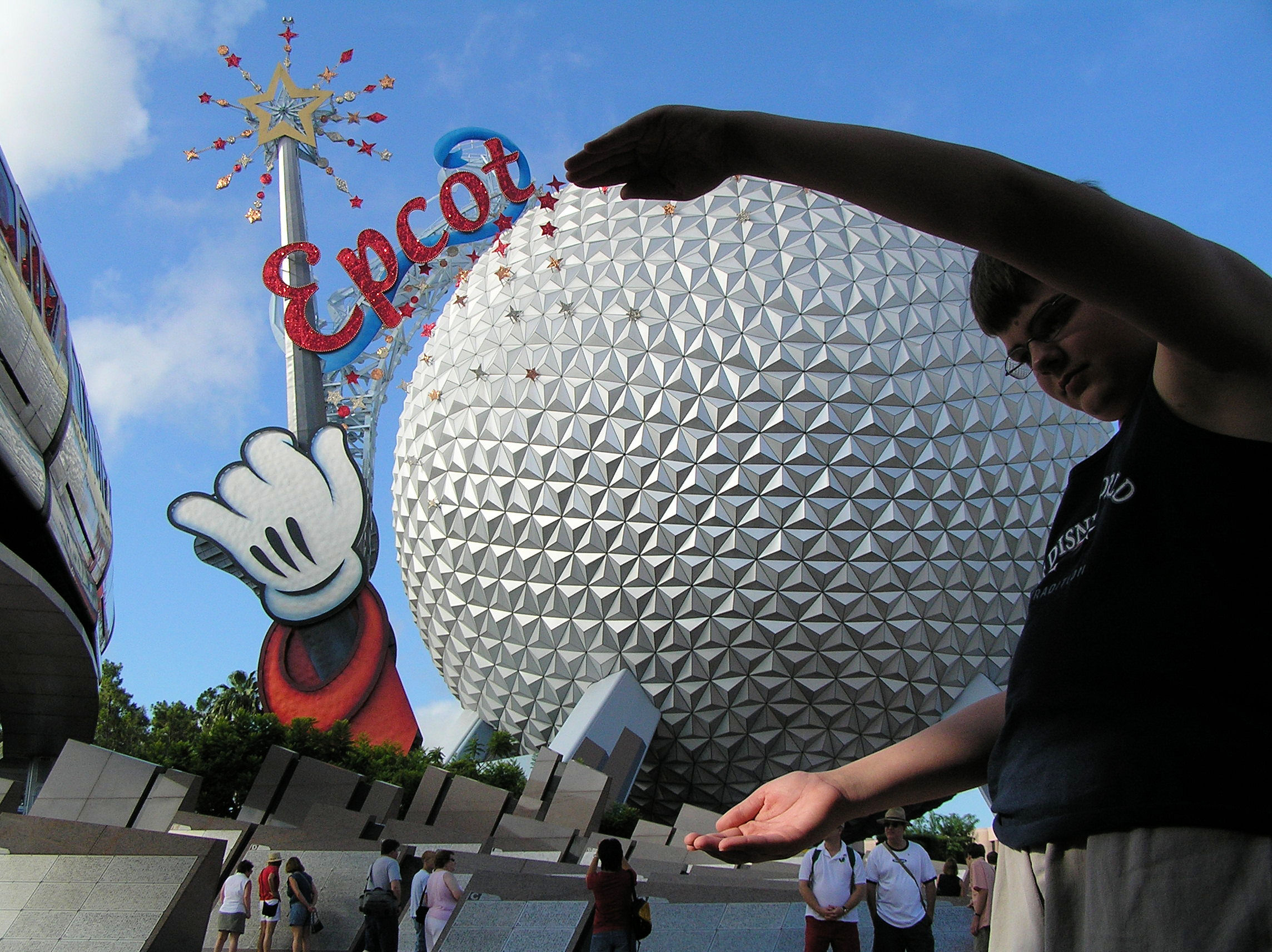 Here I am holding the big ball (Spaceship Earth) at EPCOT.