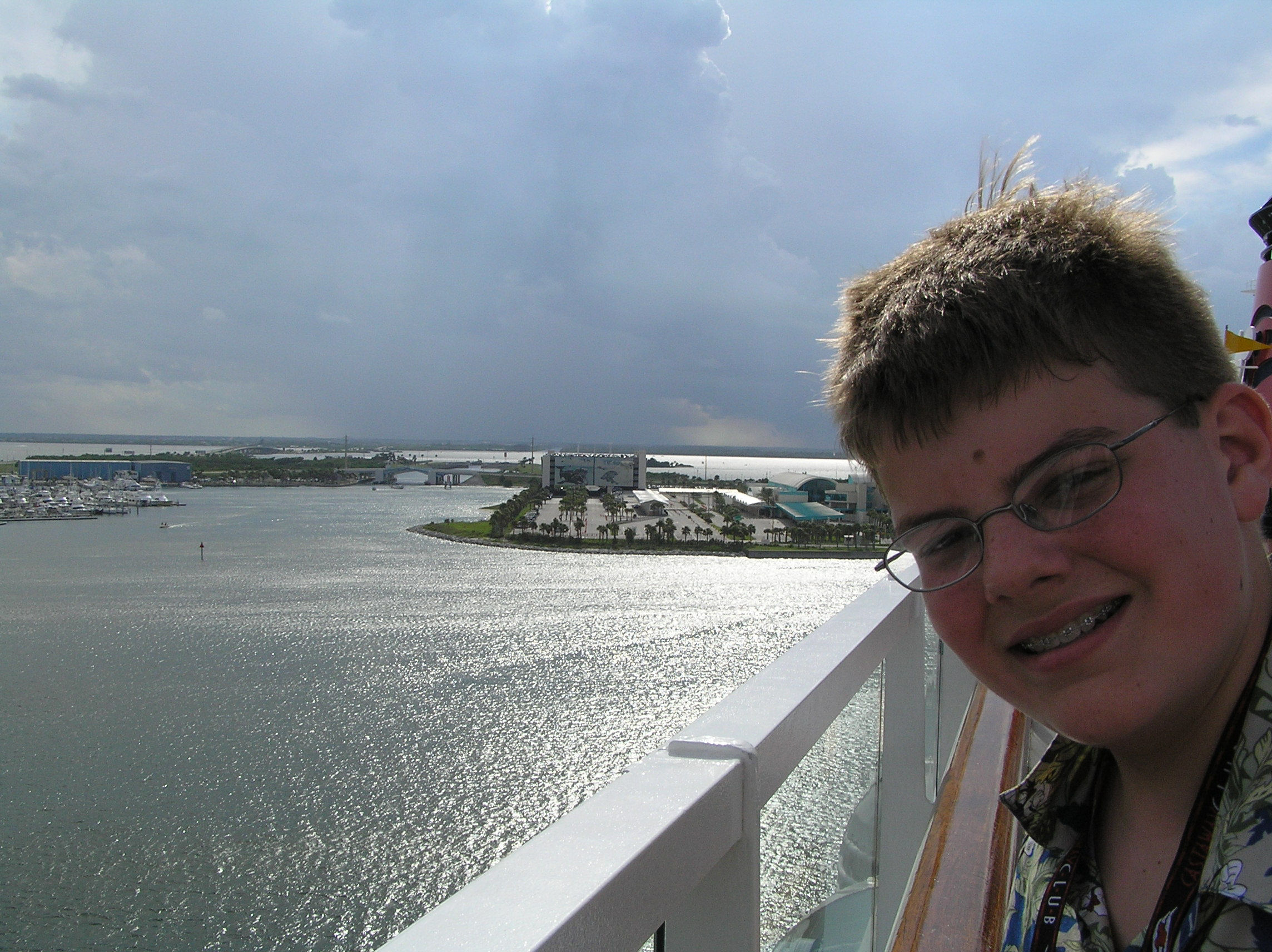 Bon voyage! Here I am as the Disney Cruise Line is leaving Port Canaveral, Florida.