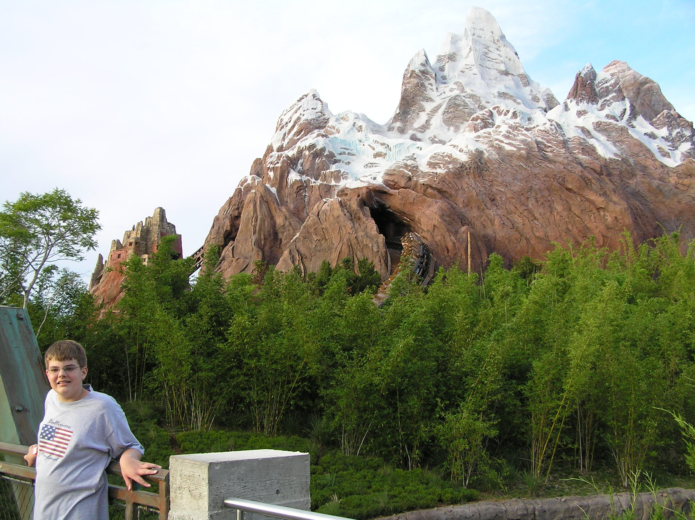 Me in front of the now-complete Expedition Everest at Disney's Animal Kingdom.