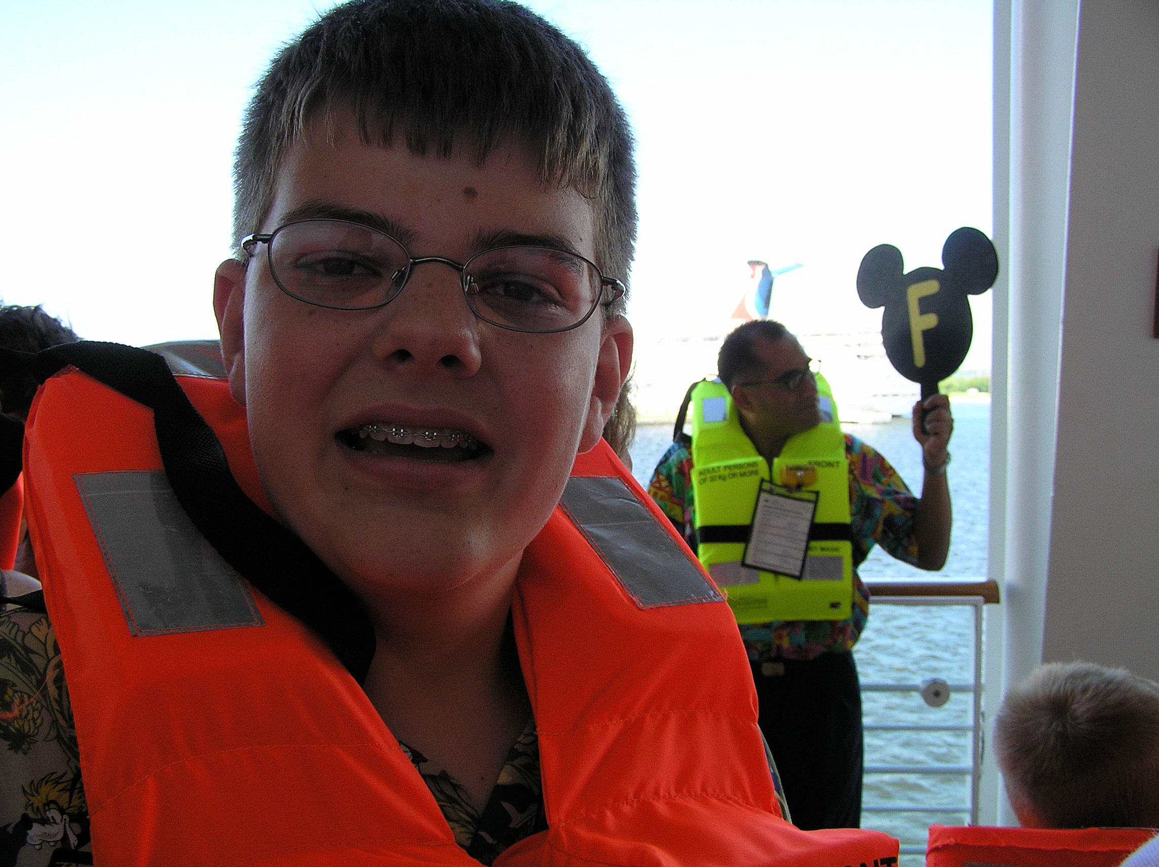 Me at the life boat drill on the Disney Cruise Line.