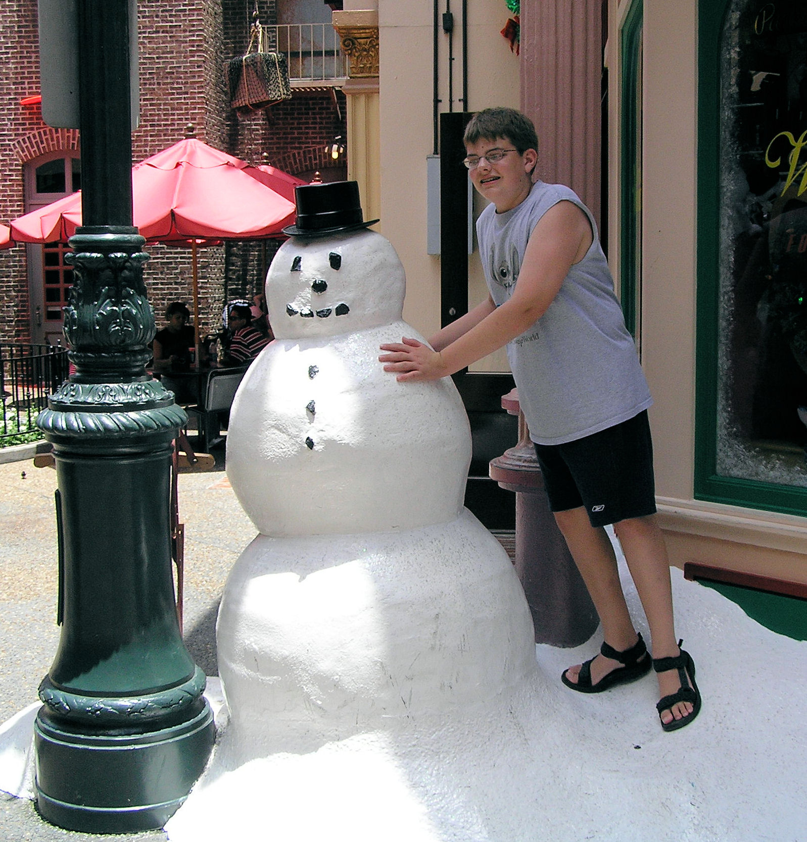 That snowman must be melting because in relation to me he keeps getting shorter over the years.