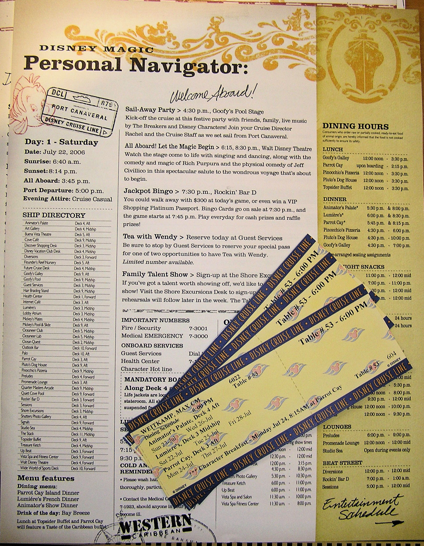 A schedule for the Disney Cruise Line and our tickets.