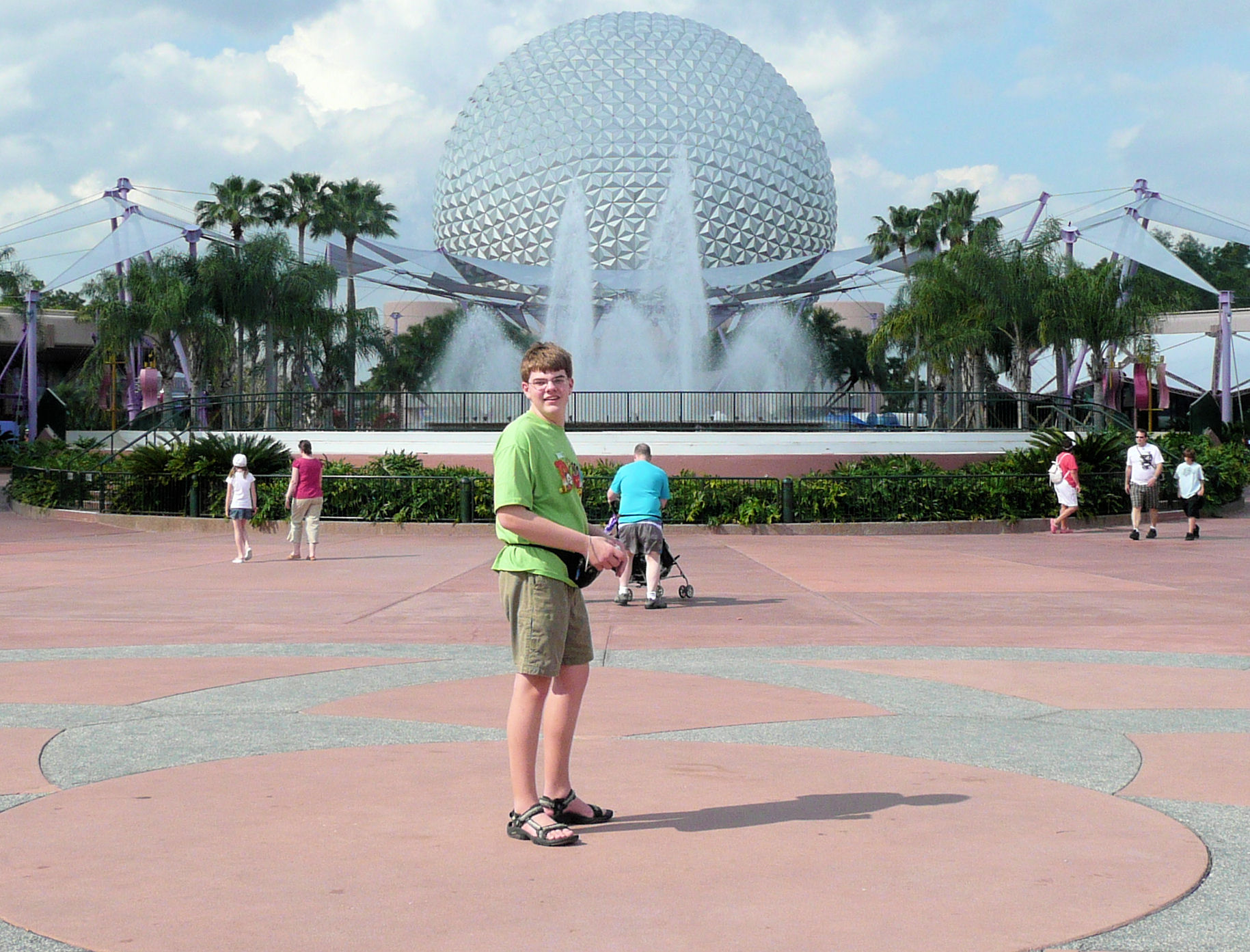 I am standing in the exact center of Disney World; this spot is located in EPCOT.
