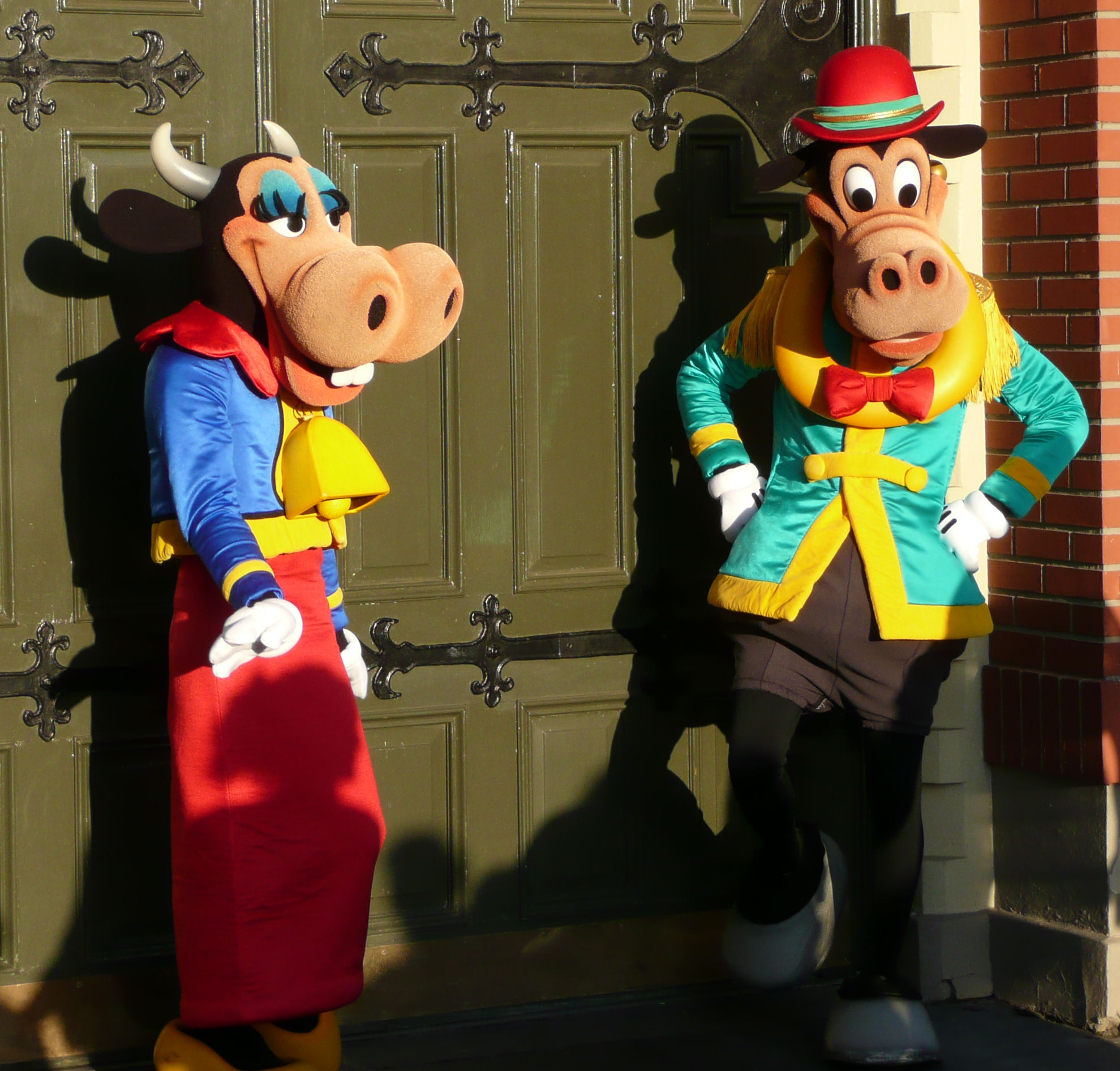 Two rarely seen Disney characters—Clarabelle Cow and Horace Horsecollar—on Main Street, USA, Magic Kingdom, Disney World.