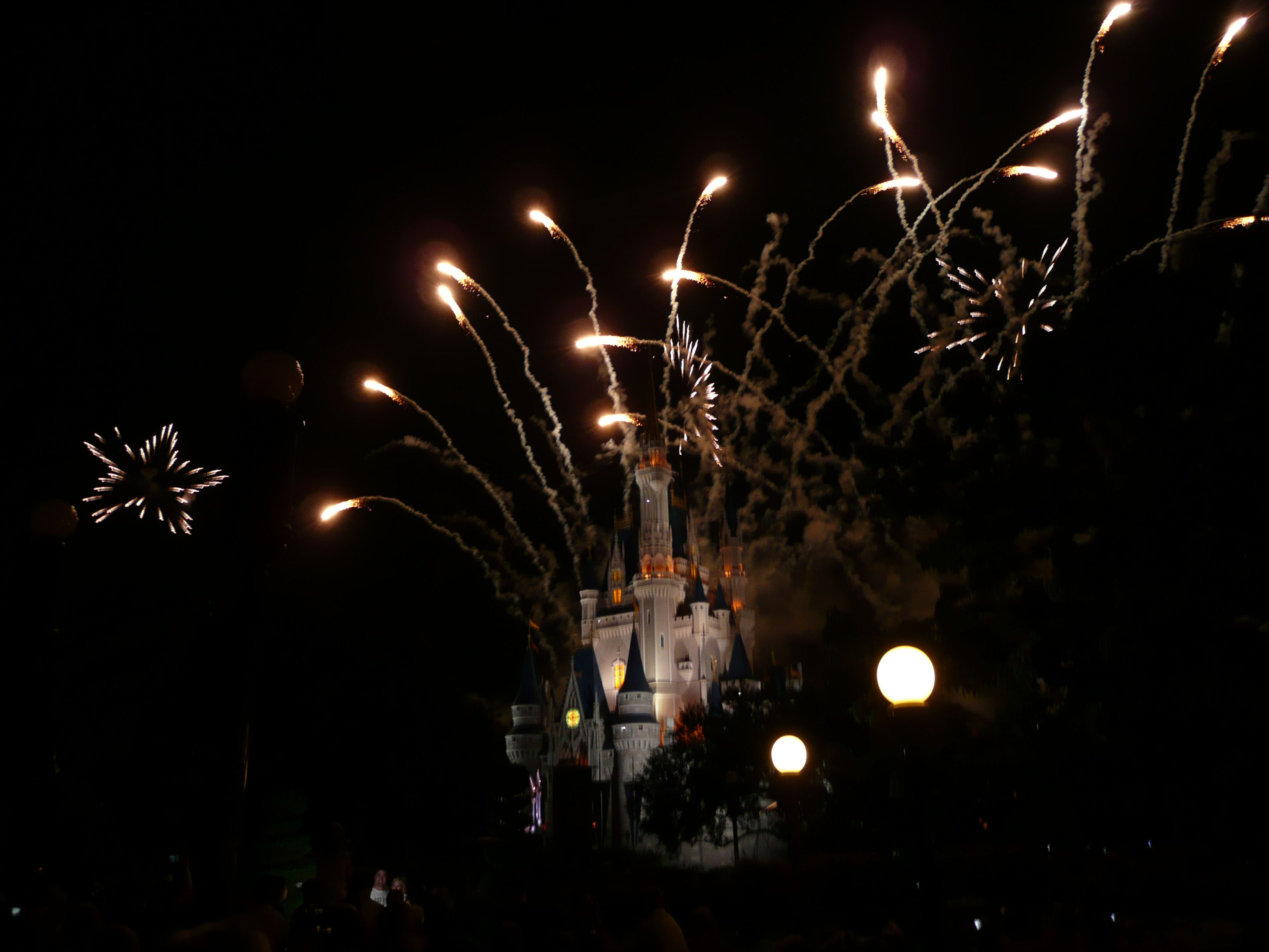 Fireworks over Cinderella's Castle at the Magic Kingdom, Disney World.