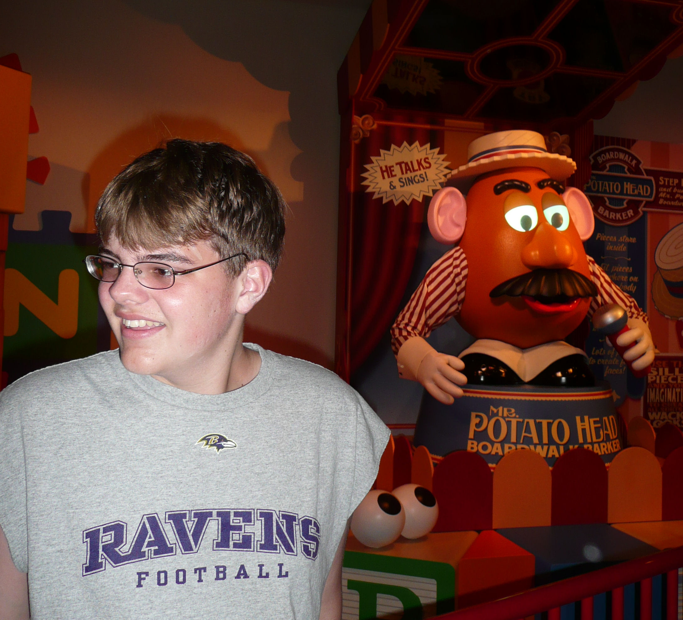 Inside the queue for Toy Story Midway Mania at Disney's Hollywood Studios; Mr. Potato Head (in the background) can take out his own ear and he talks to guests.