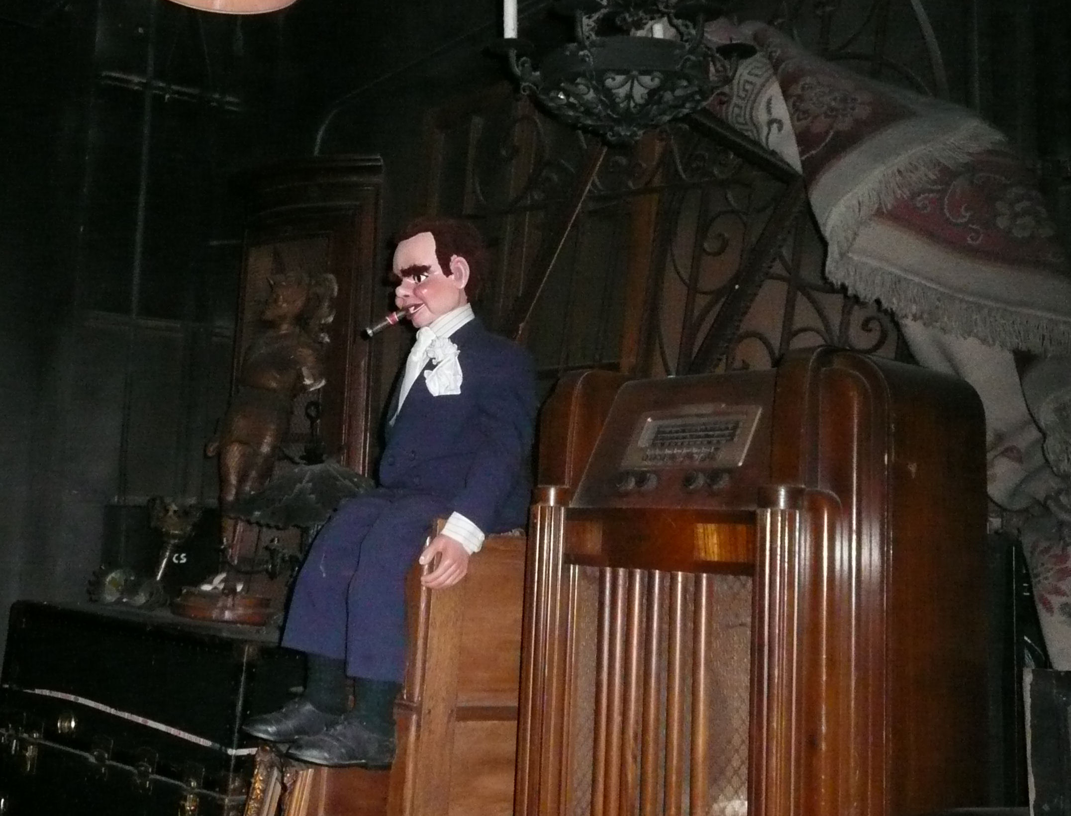 Props in the basement in the Twilight Zone Tower of Terror at Disney's Hollywood Studios; ventriloquist dummy is from an actual episode of <i>The Twilight Zone</i> television show.