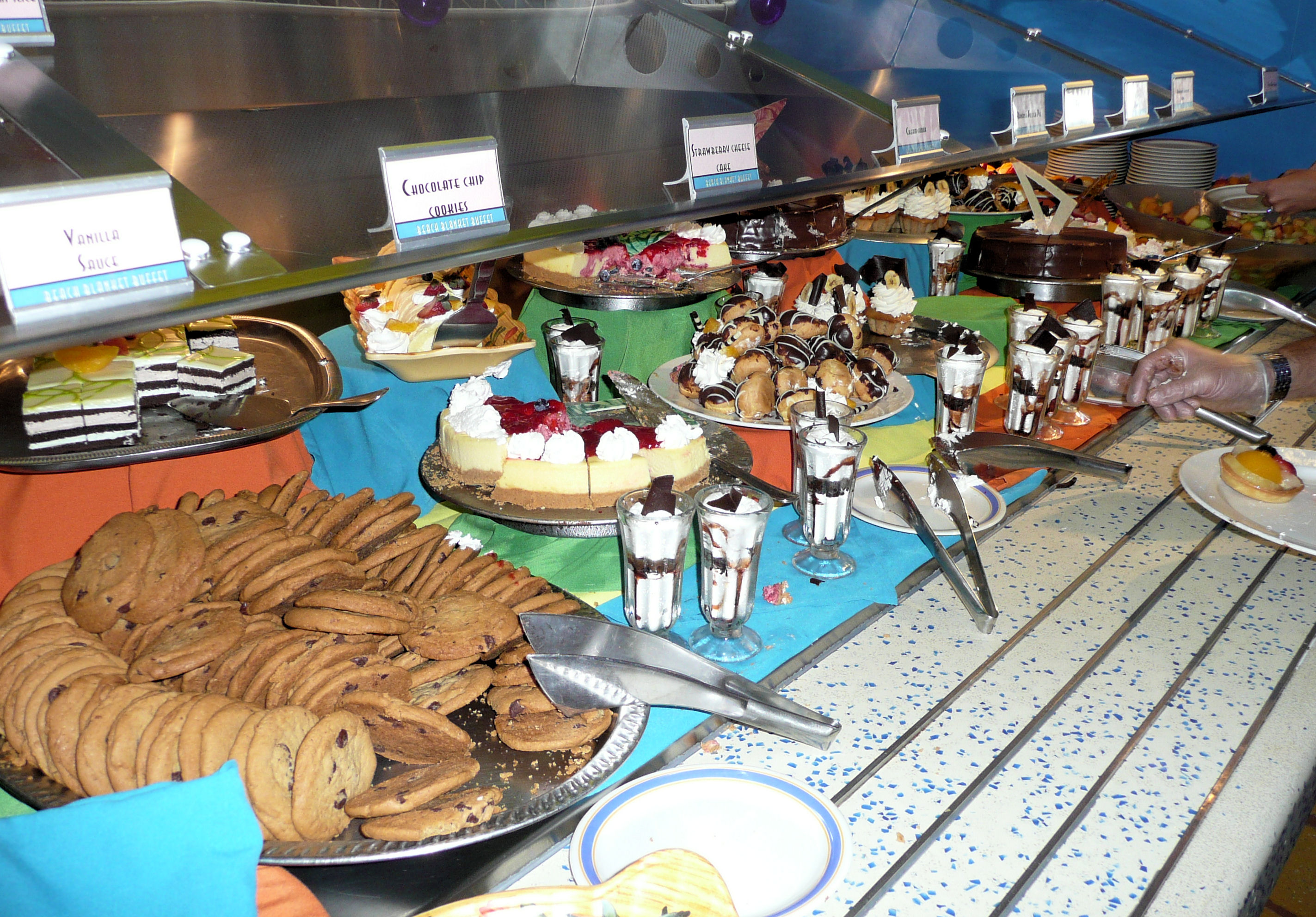 Dessert bar at the lunch buffet line for the Disney Cruise Line.