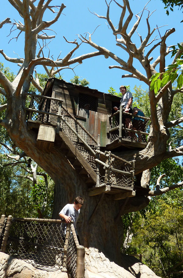 Checking the vista from the treehouse on Tom Sawyer Island, Disneyland.