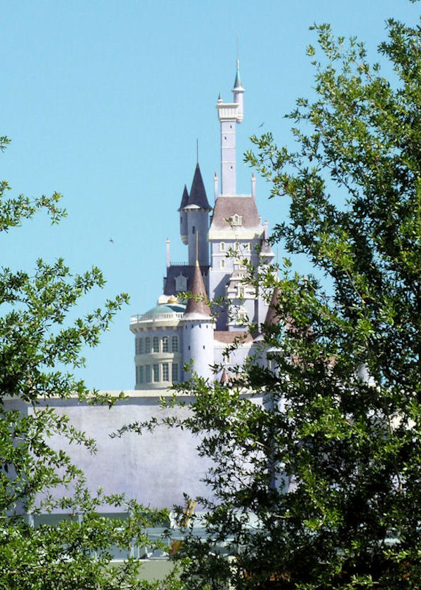 View of what's behind the fence in the Fantasyland expansion.