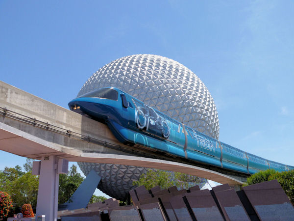 The Tron Monorail in front of the Big Ball.
